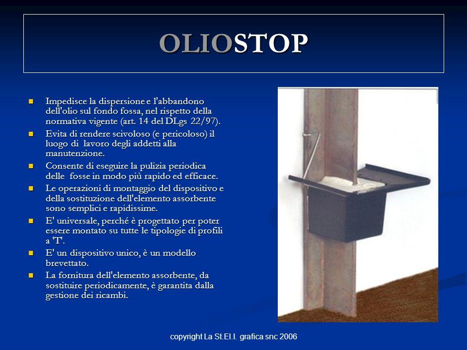 copyright La St.El.I. grafica snc 2006 OLIOSTOP Impedisce la dispersione e l'abbandono dell'olio sul fondo fossa, nel rispetto della normativa vigente