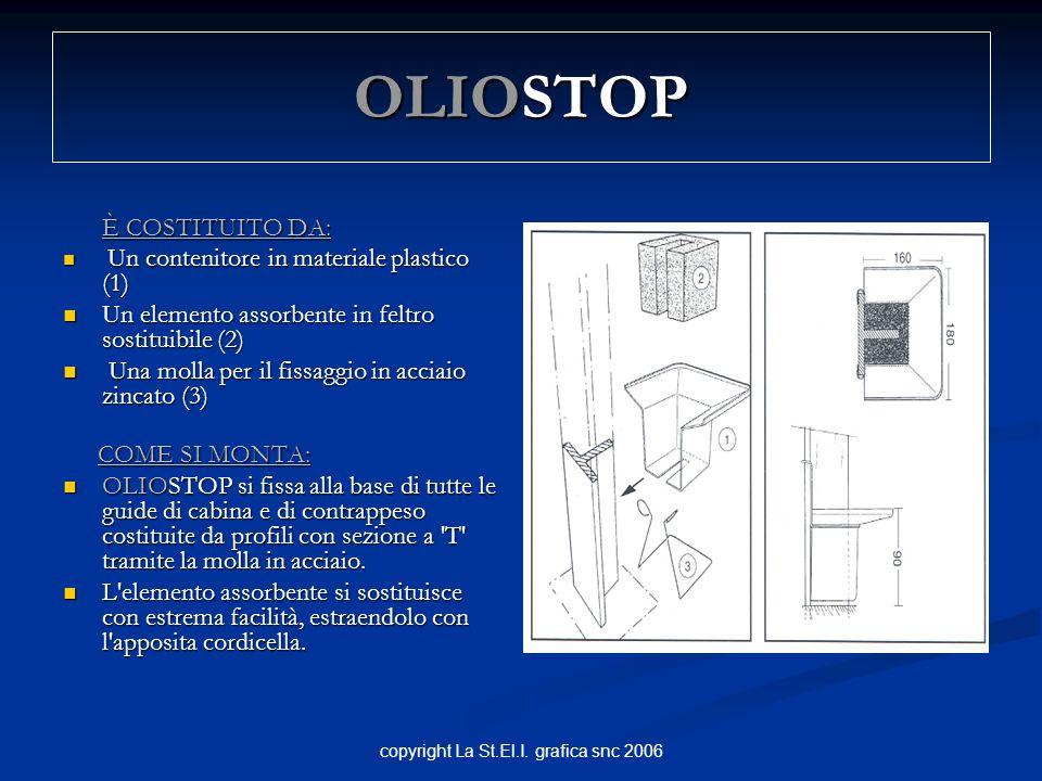 copyright La St.El.I. grafica snc 2006 OLIOSTOP È COSTITUITO DA: È COSTITUITO DA: Un contenitore in materiale plastico (1) Un contenitore in materiale