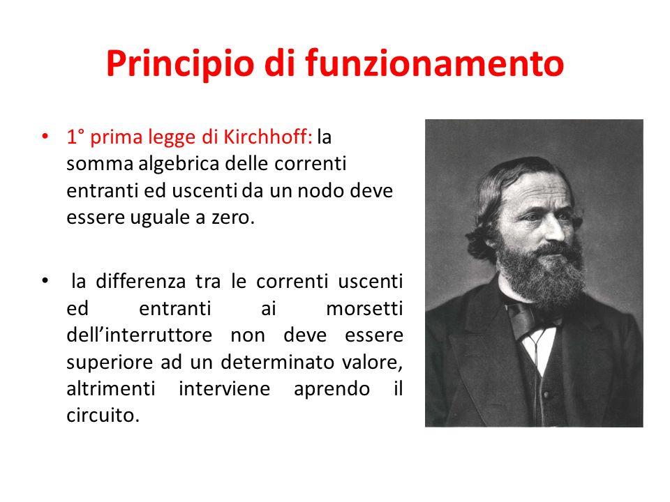 Principio di funzionamento 1° prima legge di Kirchhoff: la somma algebrica delle correnti entranti ed uscenti da un nodo deve essere uguale a zero.