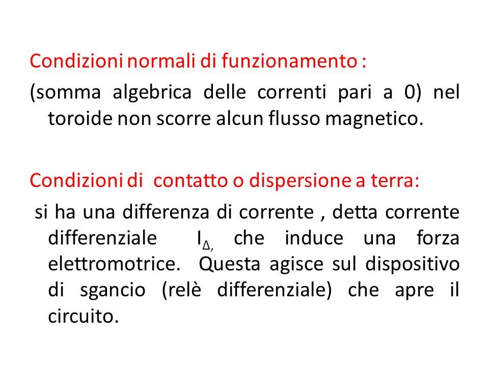 Condizioni normali di funzionamento : (somma algebrica delle correnti pari a 0) nel toroide non scorre alcun flusso magnetico. Condizioni di contatto