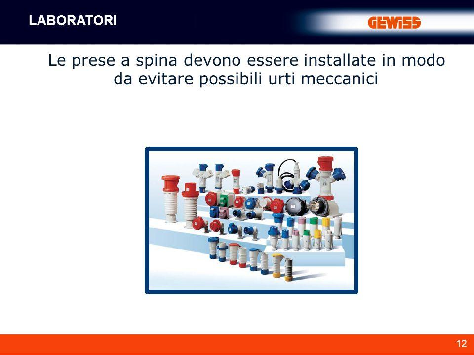 12 Le prese a spina devono essere installate in modo da evitare possibili urti meccanici LABORATORI