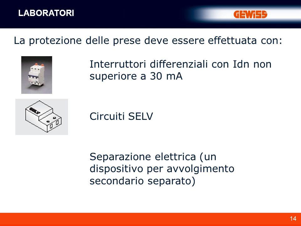 14 La protezione delle prese deve essere effettuata con: Interruttori differenziali con Idn non superiore a 30 mA Circuiti SELV Separazione elettrica