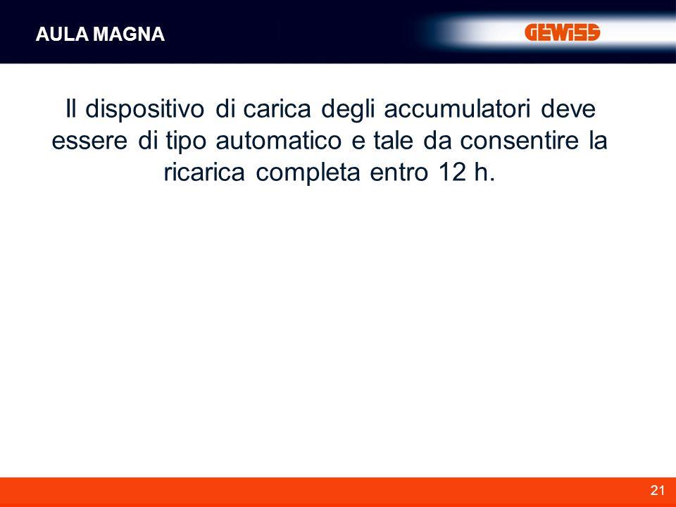 21 Il dispositivo di carica degli accumulatori deve essere di tipo automatico e tale da consentire la ricarica completa entro 12 h. AULA MAGNA