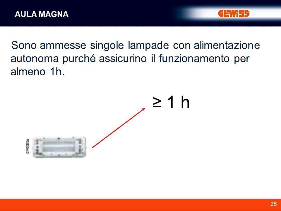 25 Sono ammesse singole lampade con alimentazione autonoma purché assicurino il funzionamento per almeno 1h. AULA MAGNA 1 h