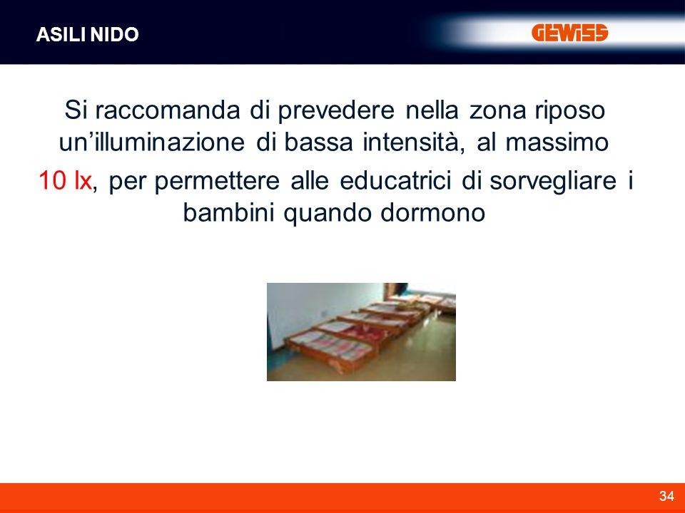 34 Si raccomanda di prevedere nella zona riposo unilluminazione di bassa intensità, al massimo 10 lx, per permettere alle educatrici di sorvegliare i