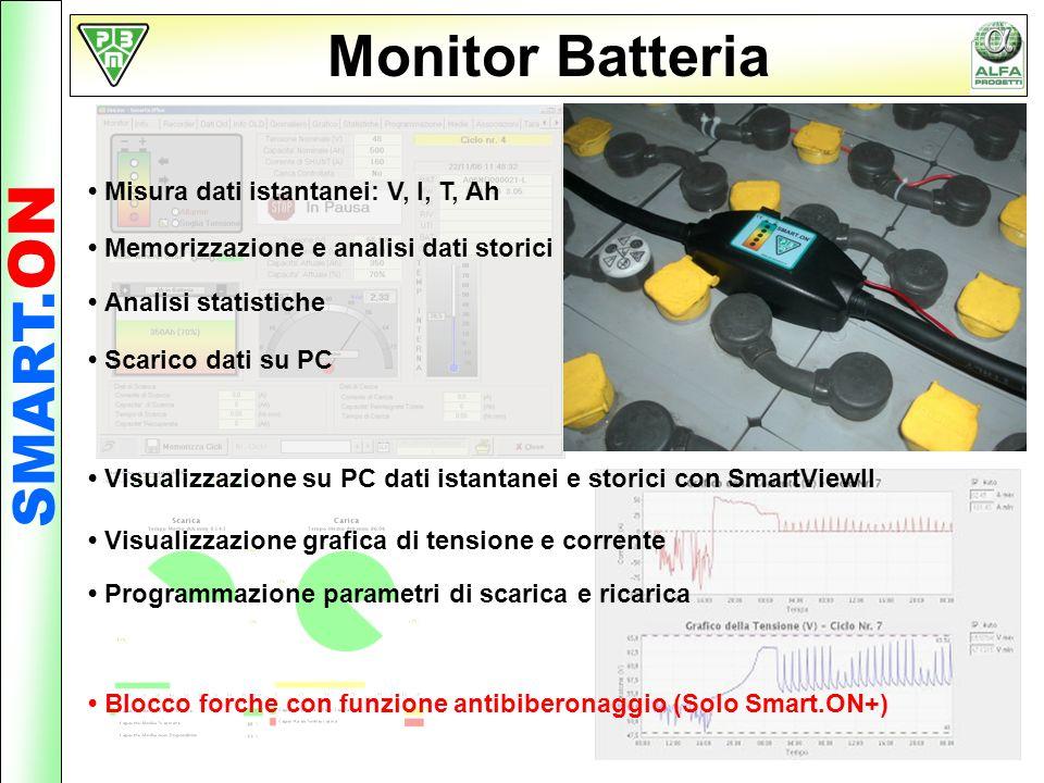 SMART. ON Monitor Batteria Misura dati istantanei: V, I, T, Ah Memorizzazione e analisi dati storici Analisi statistiche Programmazione parametri di s