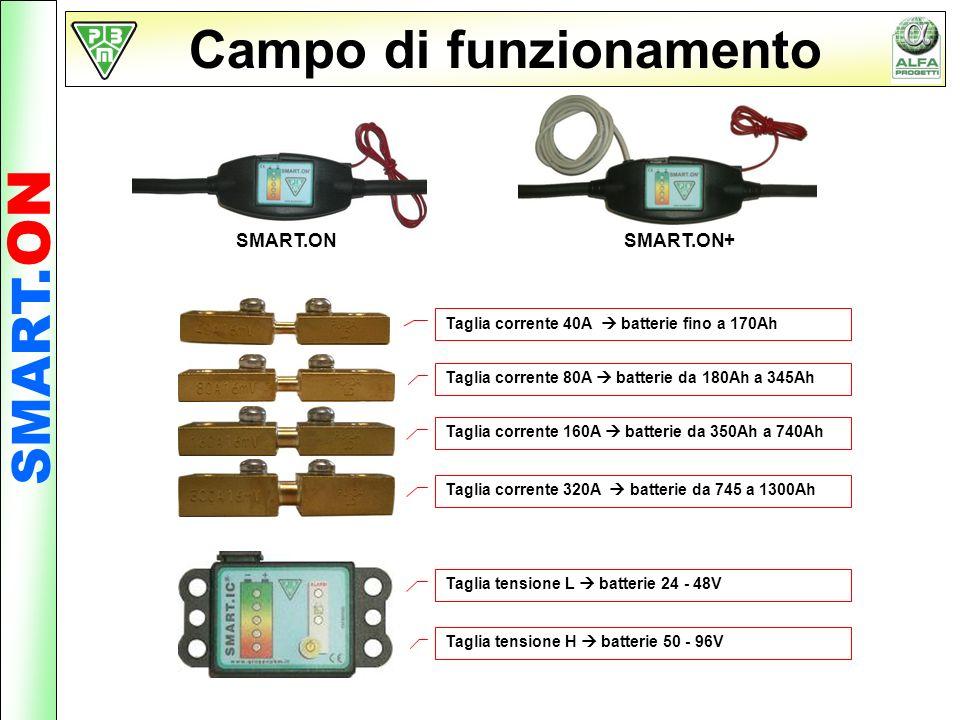 Campo di funzionamento SMART. ON Taglia corrente 40A batterie fino a 170Ah Taglia corrente 80A batterie da 180Ah a 345Ah Taglia corrente 160A batterie