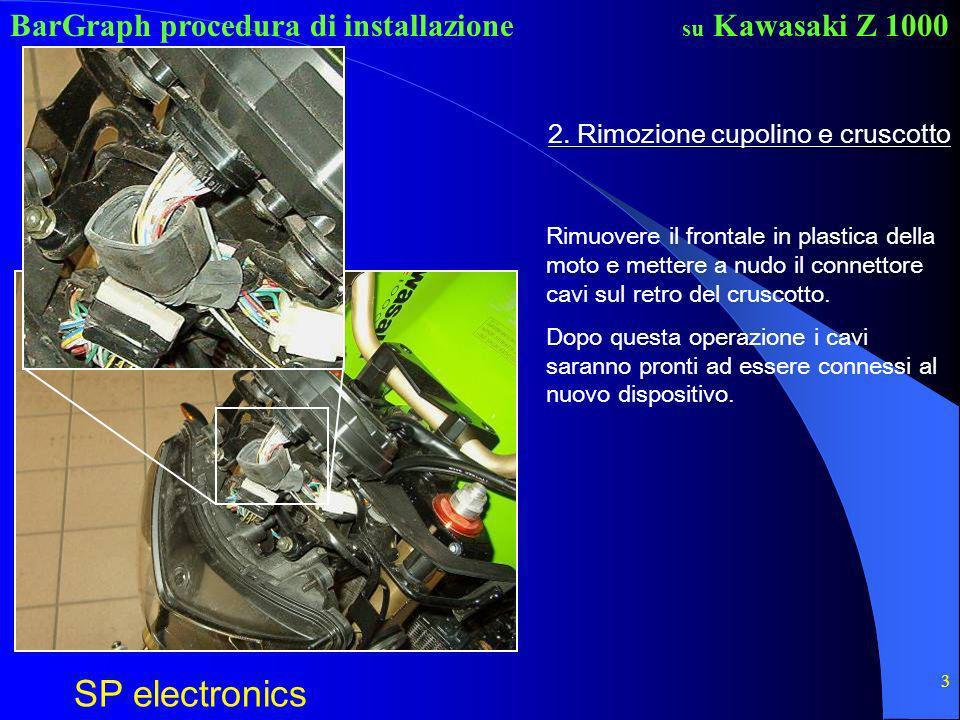 BarGraph procedura di installazione SP electronics su Kawasaki Z 1000 3 2. Rimozione cupolino e cruscotto Rimuovere il frontale in plastica della moto