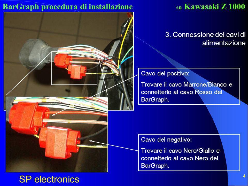 BarGraph procedura di installazione SP electronics su Kawasaki Z 1000 4 3. Connessione dei cavi di alimentazione Cavo del positivo: Trovare il cavo Ma