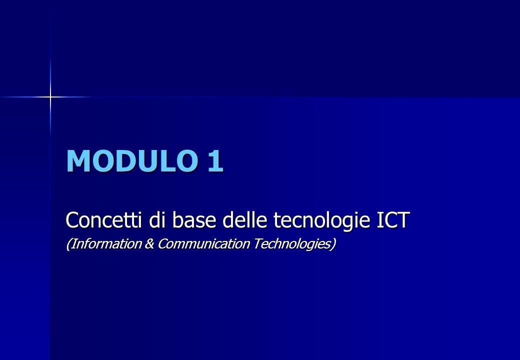MODULO 1 Concetti di base delle tecnologie ICT (Information & Communication Technologies)