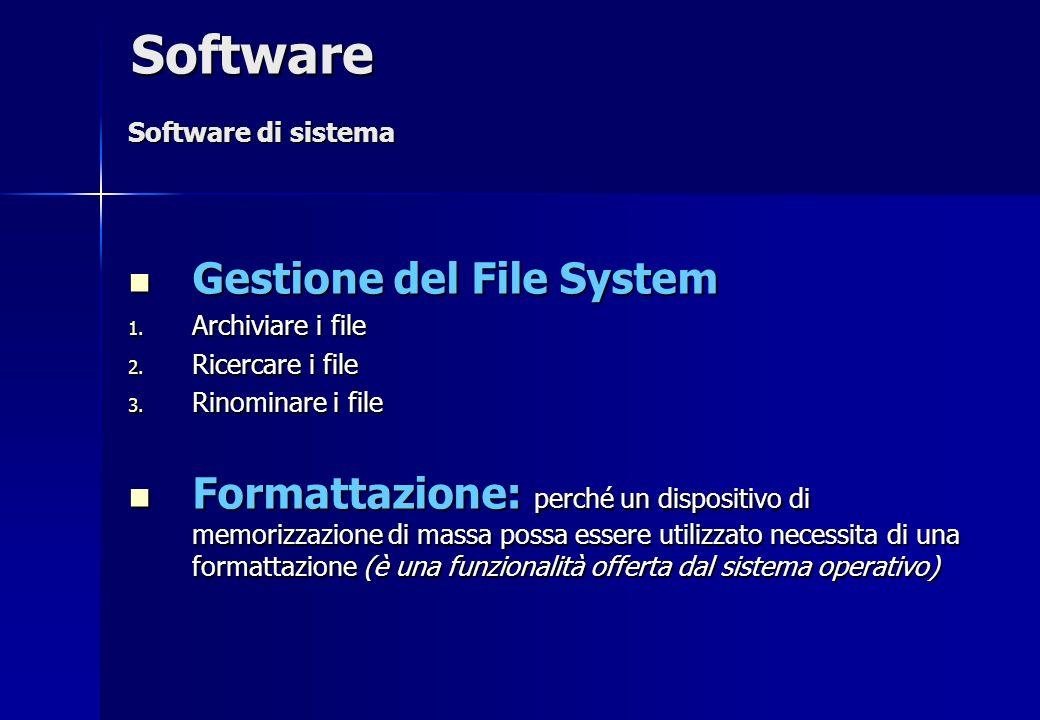 Gestione del File System Gestione del File System 1. Archiviare i file 2. Ricercare i file 3. Rinominare i file Formattazione: perché un dispositivo d
