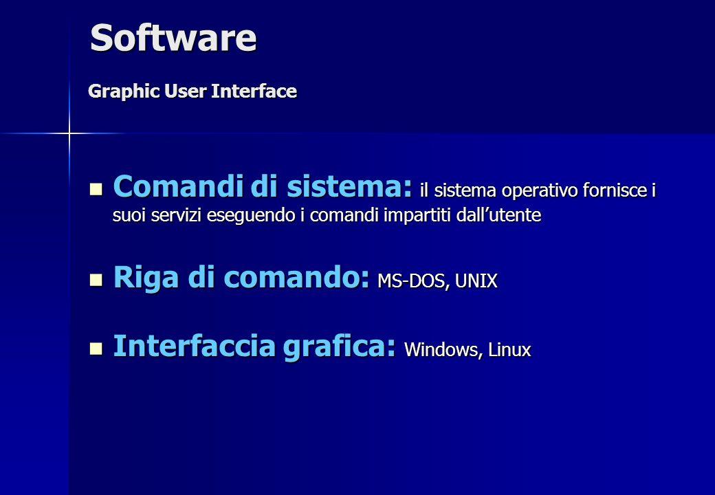 Comandi di sistema: il sistema operativo fornisce i suoi servizi eseguendo i comandi impartiti dallutente Comandi di sistema: il sistema operativo for
