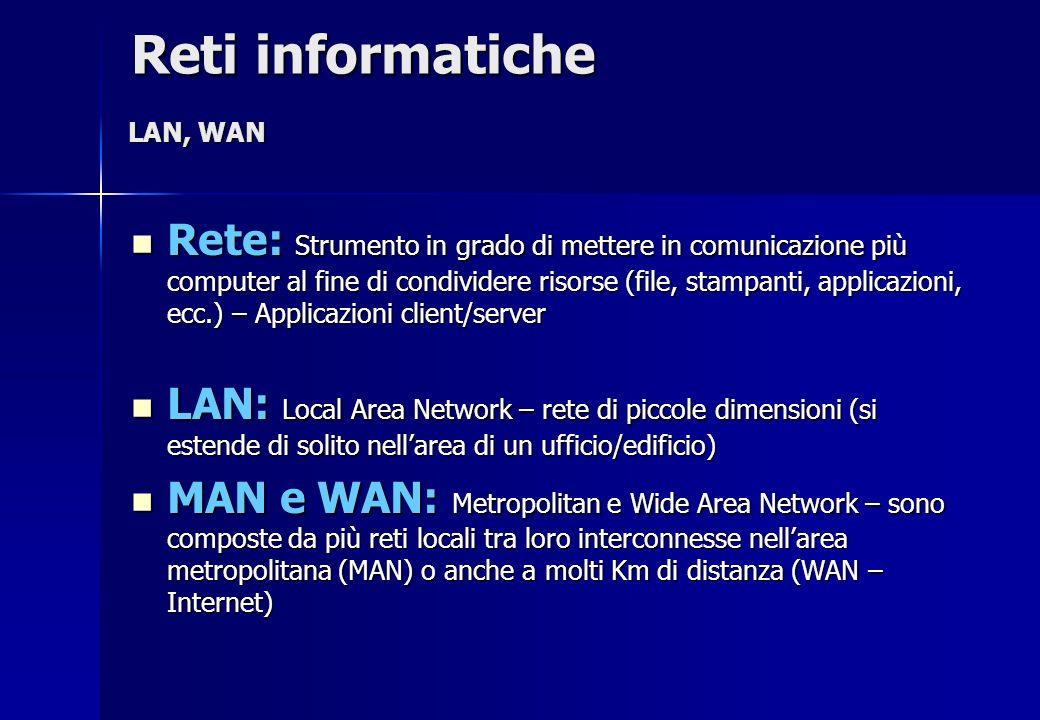 Rete: Strumento in grado di mettere in comunicazione più computer al fine di condividere risorse (file, stampanti, applicazioni, ecc.) – Applicazioni