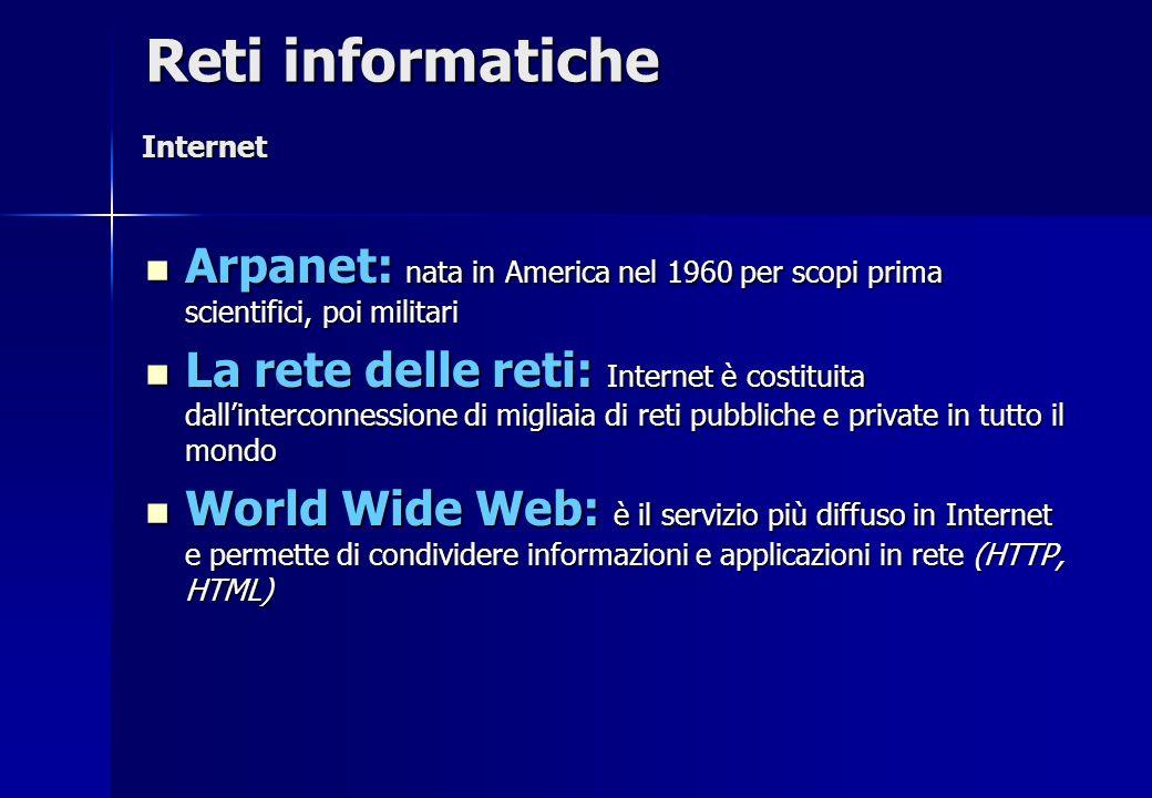 Arpanet: nata in America nel 1960 per scopi prima scientifici, poi militari Arpanet: nata in America nel 1960 per scopi prima scientifici, poi militar