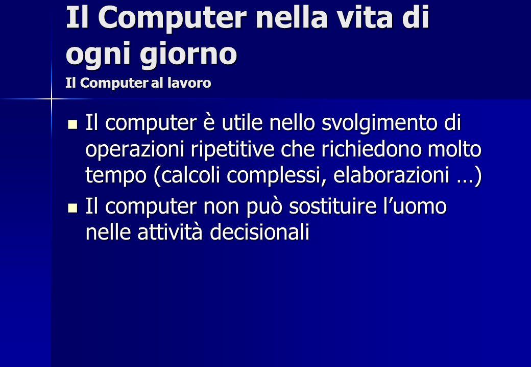Il computer è utile nello svolgimento di operazioni ripetitive che richiedono molto tempo (calcoli complessi, elaborazioni …) Il computer è utile nell
