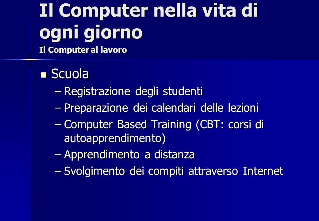 Scuola Scuola –Registrazione degli studenti –Preparazione dei calendari delle lezioni –Computer Based Training (CBT: corsi di autoapprendimento) –Appr