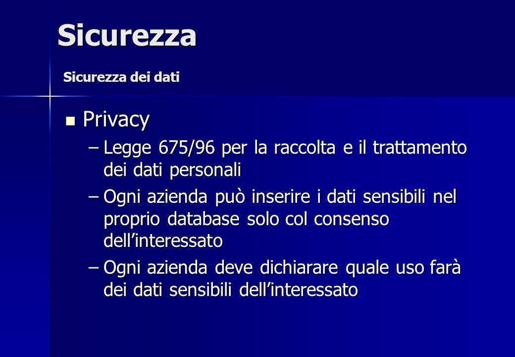 Privacy Privacy –Legge 675/96 per la raccolta e il trattamento dei dati personali –Ogni azienda può inserire i dati sensibili nel proprio database sol