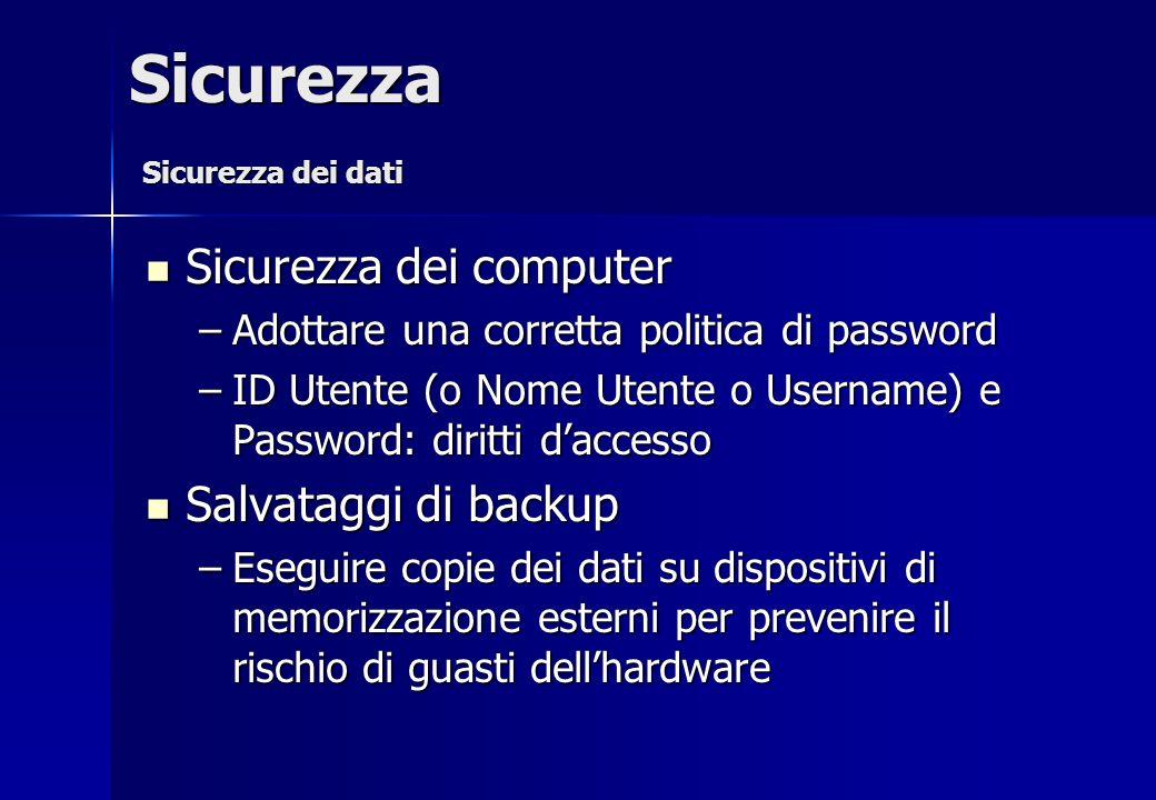 Sicurezza dei computer Sicurezza dei computer –Adottare una corretta politica di password –ID Utente (o Nome Utente o Username) e Password: diritti da