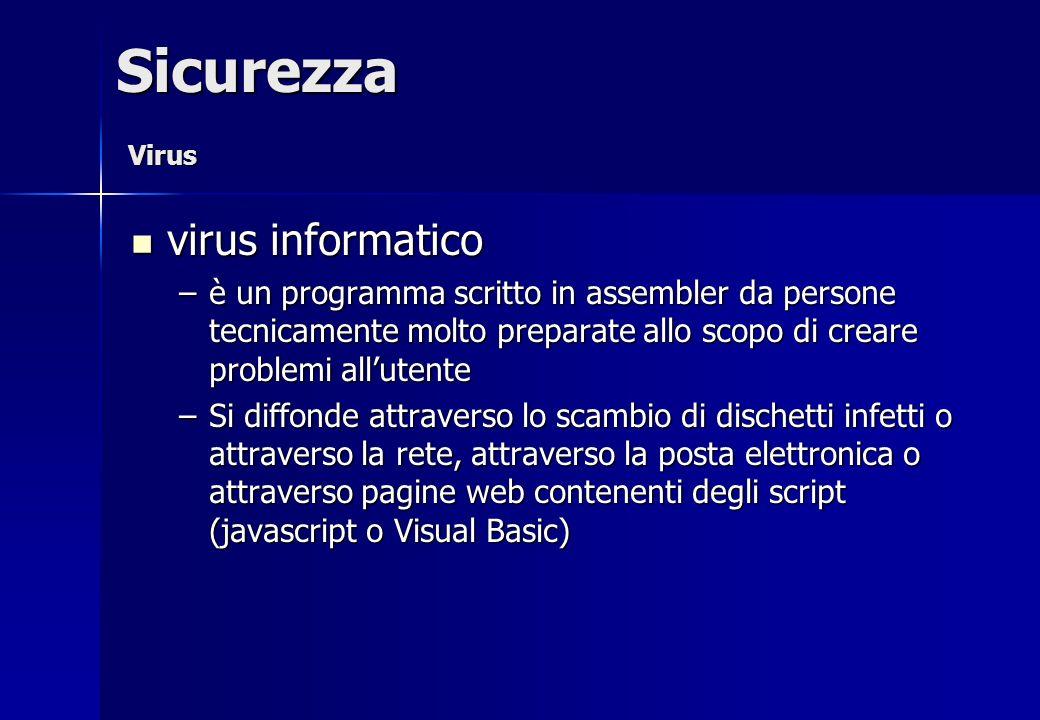 virus informatico virus informatico –è un programma scritto in assembler da persone tecnicamente molto preparate allo scopo di creare problemi alluten