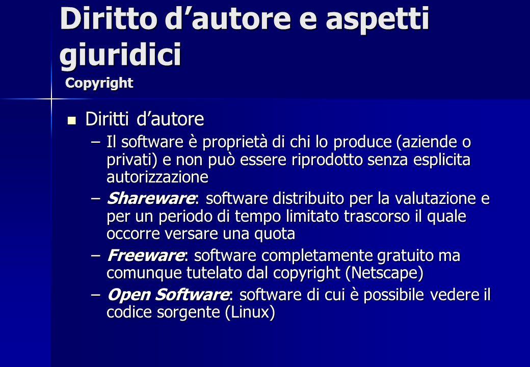 Diritti dautore Diritti dautore –Il software è proprietà di chi lo produce (aziende o privati) e non può essere riprodotto senza esplicita autorizzazi