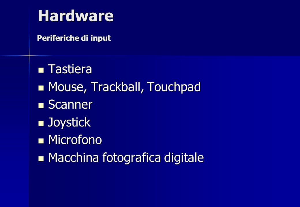 Tastiera Tastiera Mouse, Trackball, Touchpad Mouse, Trackball, Touchpad Scanner Scanner Joystick Joystick Microfono Microfono Macchina fotografica dig