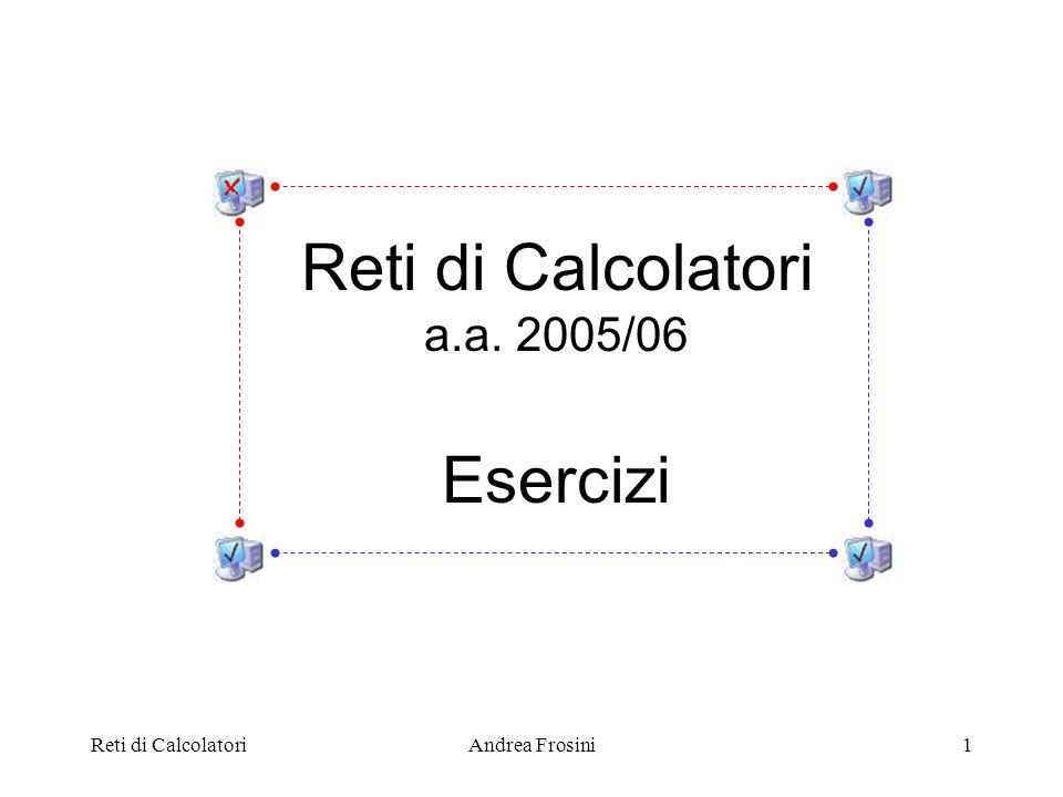 Reti di CalcolatoriAndrea Frosini2 Esercizi – Livello Fisico I 1.Un canale a 4 kHz e privo di rumore è campionato ogni msec.