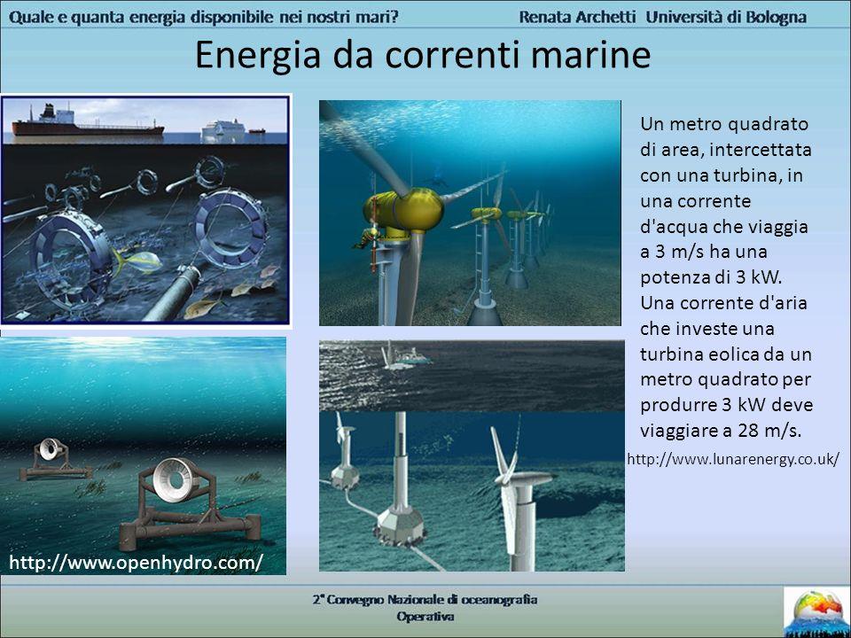 Energia da correnti marine http://www.openhydro.com/ Un metro quadrato di area, intercettata con una turbina, in una corrente d'acqua che viaggia a 3