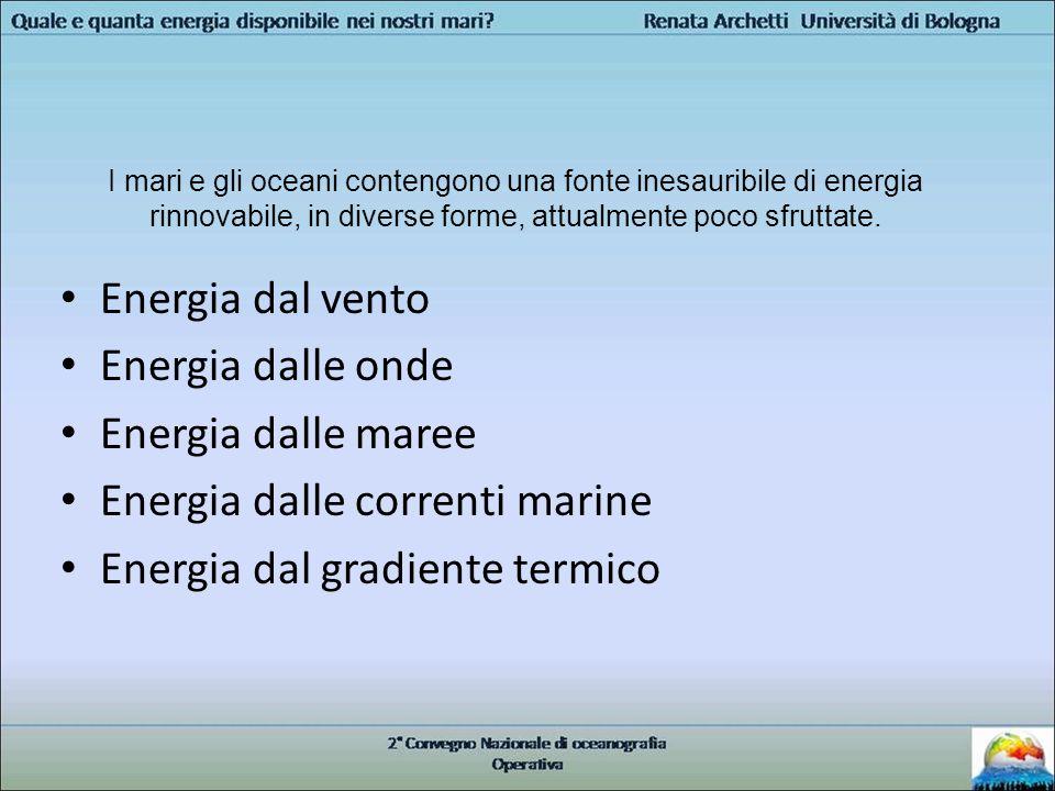 Il ruolo della Oceanografia Operativa Fornire informazioni e statistiche in merito alle risorse: – Vento – Onde di superficie – Correnti da maree – Correnti marine – Temperatura Per individuare i siti più idonei alla installazione di impianti per la generazione di energia dal mare e per gli studi di fattibilità