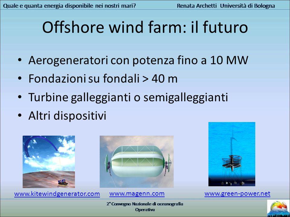 Offshore wind farm: il futuro Aerogeneratori con potenza fino a 10 MW Fondazioni su fondali > 40 m Turbine galleggianti o semigalleggianti Altri dispo