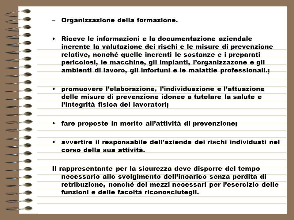 –Organizzazione della formazione.