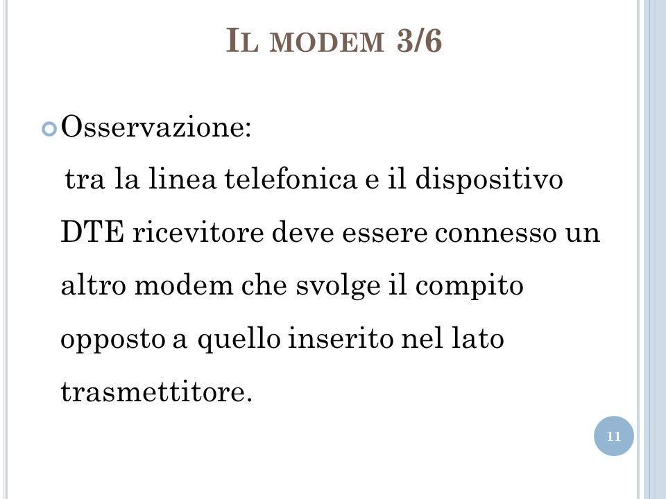 I L MODEM 3/6 Osservazione: tra la linea telefonica e il dispositivo DTE ricevitore deve essere connesso un altro modem che svolge il compito opposto