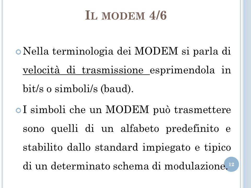 I L MODEM 4/6 Nella terminologia dei MODEM si parla di velocità di trasmissione esprimendola in bit/s o simboli/s (baud). I simboli che un MODEM può t