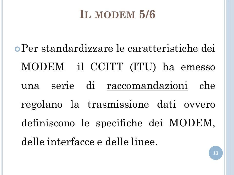I L MODEM 5/6 Per standardizzare le caratteristiche dei MODEM il CCITT (ITU) ha emesso una serie di raccomandazioni che regolano la trasmissione dati