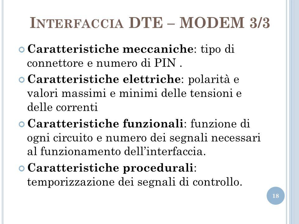 I NTERFACCIA DTE – MODEM 3/3 18 Caratteristiche meccaniche : tipo di connettore e numero di PIN. Caratteristiche elettriche : polarità e valori massim