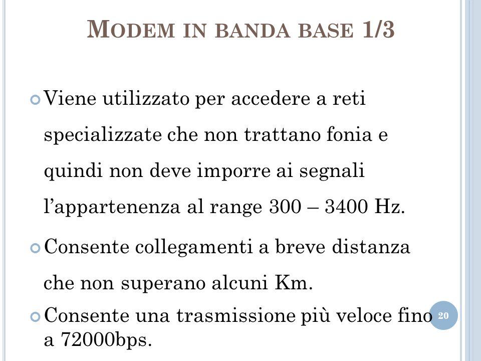 M ODEM IN BANDA BASE 1/3 Viene utilizzato per accedere a reti specializzate che non trattano fonia e quindi non deve imporre ai segnali lappartenenza