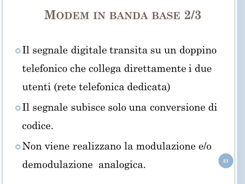 M ODEM IN BANDA BASE 2/3 Il segnale digitale transita su un doppino telefonico che collega direttamente i due utenti (rete telefonica dedicata) Il seg