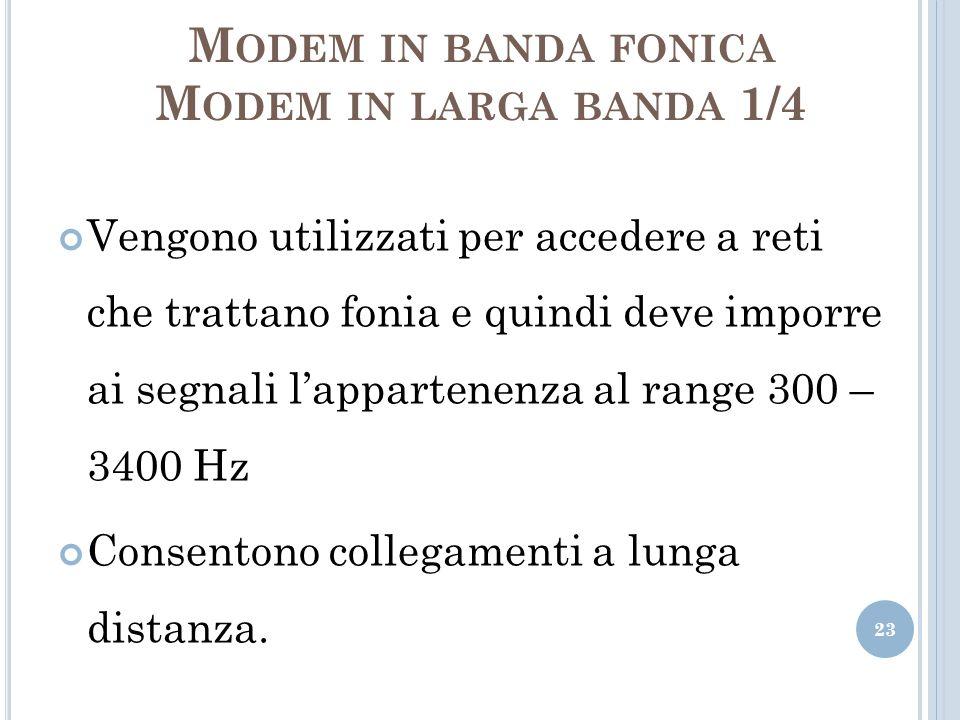 M ODEM IN BANDA FONICA M ODEM IN LARGA BANDA 1/4 Vengono utilizzati per accedere a reti che trattano fonia e quindi deve imporre ai segnali lappartene