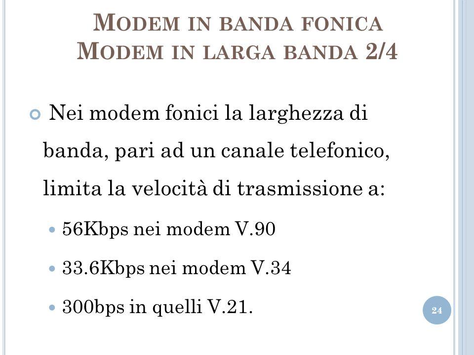 M ODEM IN BANDA FONICA M ODEM IN LARGA BANDA 2/4 Nei modem fonici la larghezza di banda, pari ad un canale telefonico, limita la velocità di trasmissi