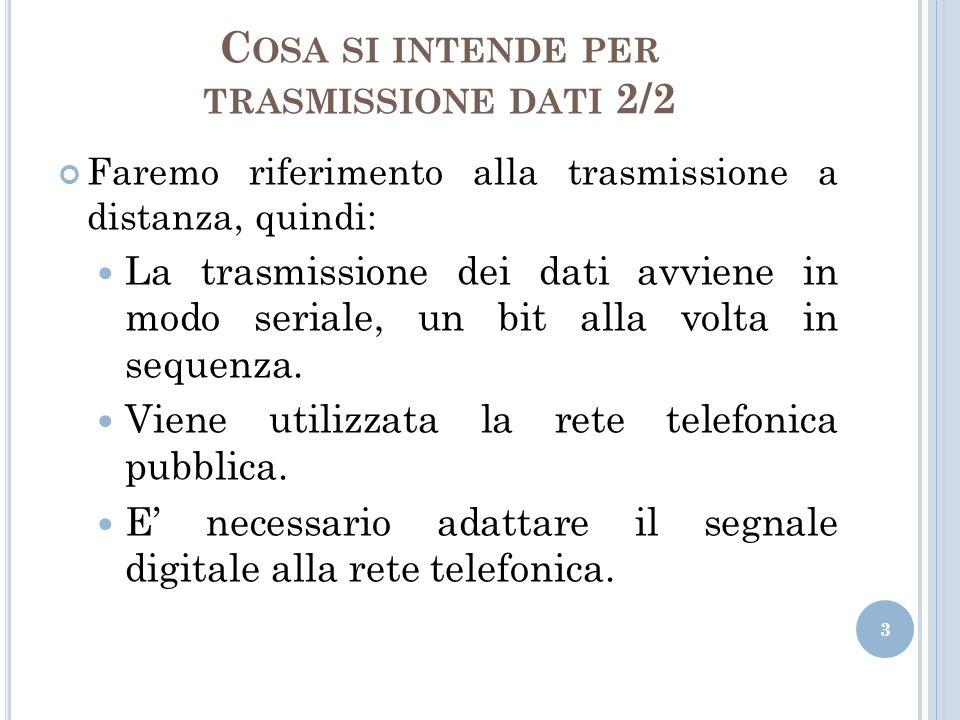 C OSA SI INTENDE PER TRASMISSIONE DATI 2/2 Faremo riferimento alla trasmissione a distanza, quindi: La trasmissione dei dati avviene in modo seriale,