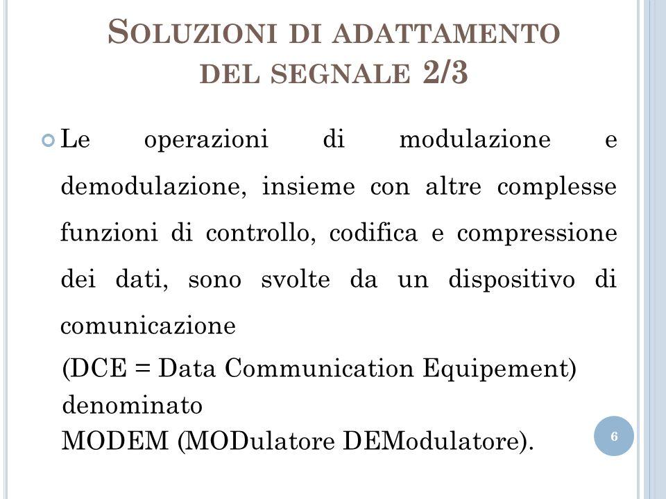 S OLUZIONI DI ADATTAMENTO DEL SEGNALE 2/3 Le operazioni di modulazione e demodulazione, insieme con altre complesse funzioni di controllo, codifica e