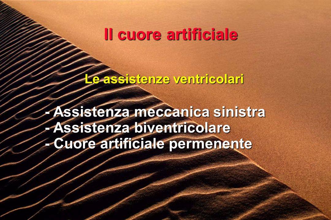 Il cuore artificiale Le assistenze ventricolari - Assistenza meccanica sinistra - Assistenza biventricolare - Cuore artificiale permenente