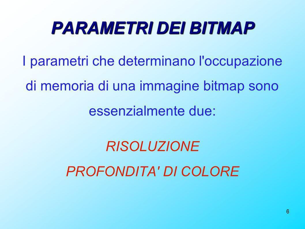 6 PARAMETRI DEI BITMAP I parametri che determinano l'occupazione di memoria di una immagine bitmap sono essenzialmente due: RISOLUZIONE PROFONDITA' DI