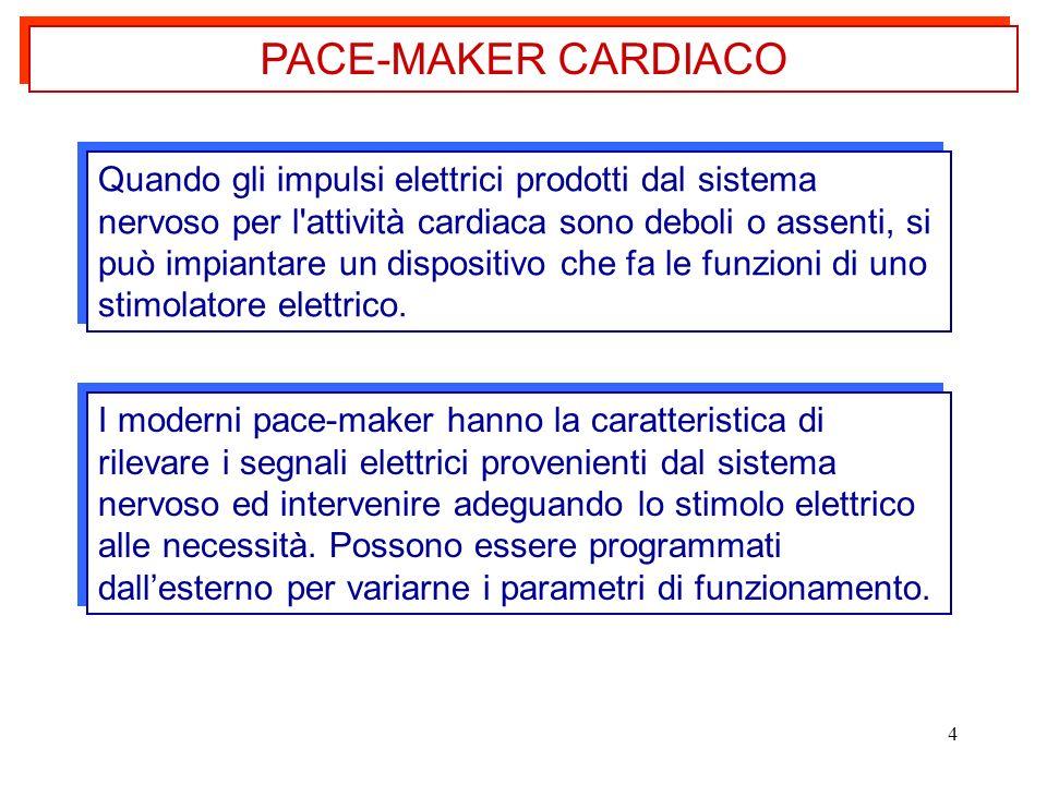 4 Quando gli impulsi elettrici prodotti dal sistema nervoso per l'attività cardiaca sono deboli o assenti, si può impiantare un dispositivo che fa le