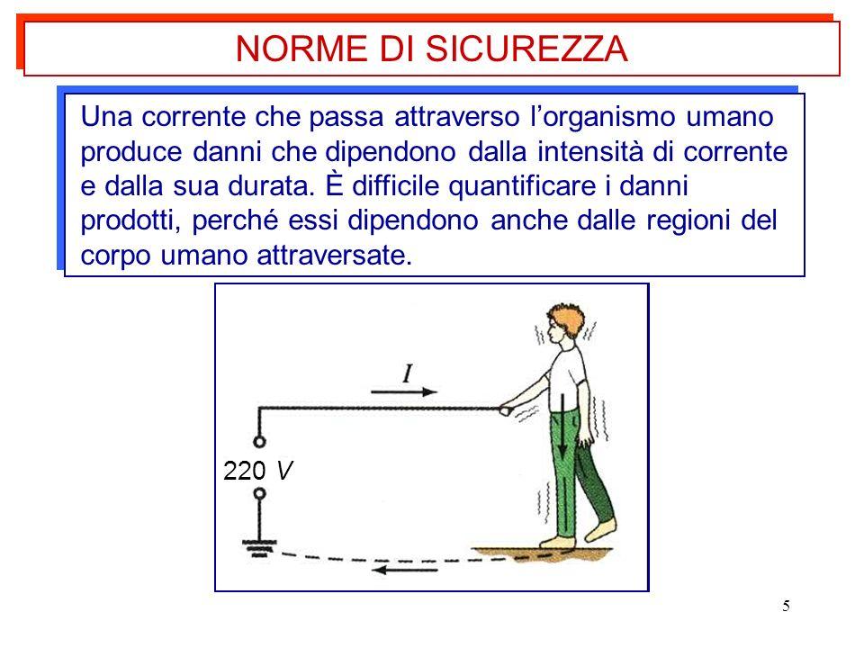 5 Una corrente che passa attraverso lorganismo umano produce danni che dipendono dalla intensità di corrente e dalla sua durata. È difficile quantific