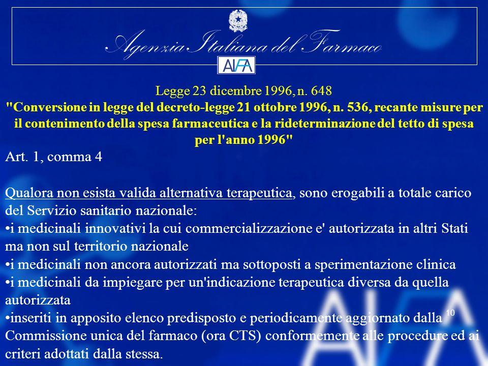 Agenzia Italiana del Farmaco 10 Legge 23 dicembre 1996, n. 648