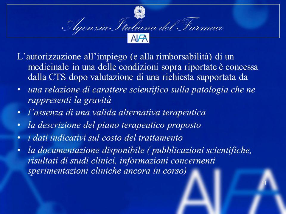 Agenzia Italiana del Farmaco 11 Lautorizzazione allimpiego (e alla rimborsabilità) di un medicinale in una delle condizioni sopra riportate è concessa