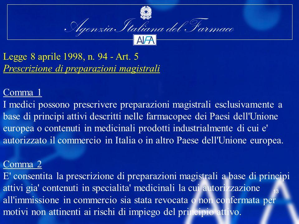 Agenzia Italiana del Farmaco 13 Legge 8 aprile 1998, n. 94 - Art. 5 Prescrizione di preparazioni magistrali Comma 1 I medici possono prescrivere prepa