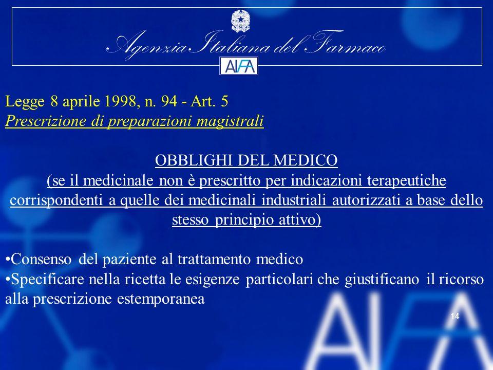 Agenzia Italiana del Farmaco 14 Legge 8 aprile 1998, n. 94 - Art. 5 Prescrizione di preparazioni magistrali OBBLIGHI DEL MEDICO (se il medicinale non