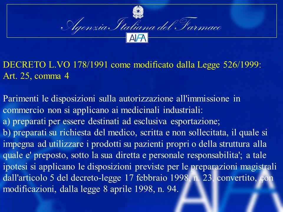 Agenzia Italiana del Farmaco 17 DECRETO L.VO 178/1991 come modificato dalla Legge 526/1999: Art. 25, comma 4 Parimenti le disposizioni sulla autorizza
