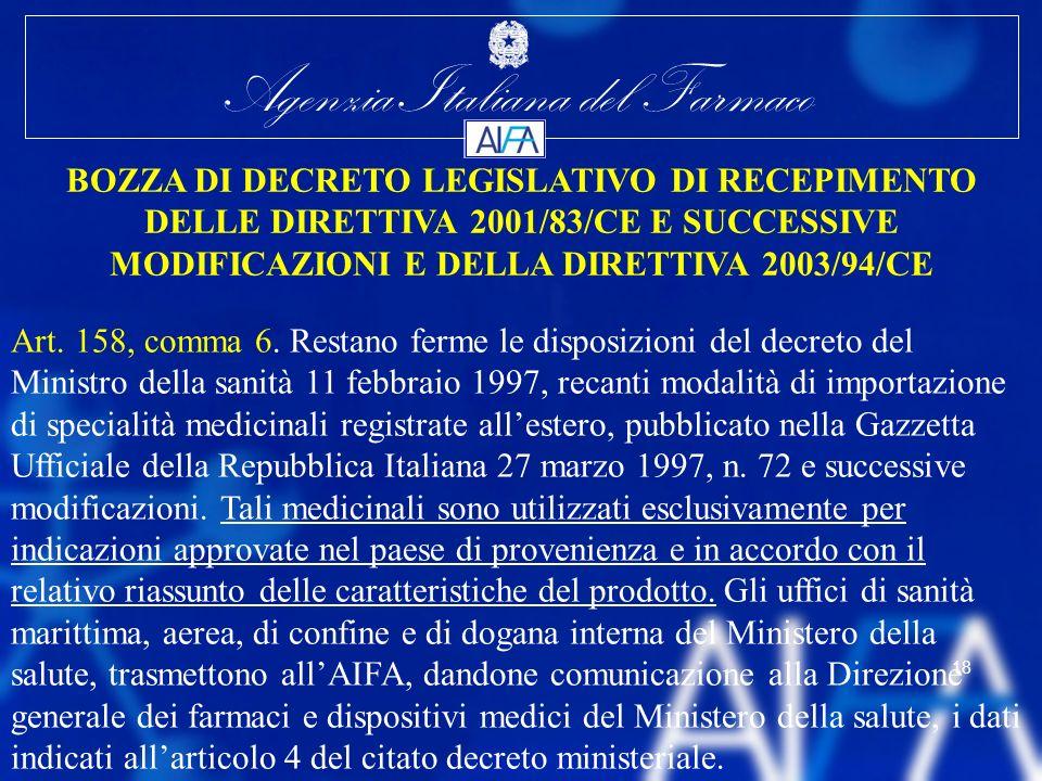 Agenzia Italiana del Farmaco 18 BOZZA DI DECRETO LEGISLATIVO DI RECEPIMENTO DELLE DIRETTIVA 2001/83/CE E SUCCESSIVE MODIFICAZIONI E DELLA DIRETTIVA 20